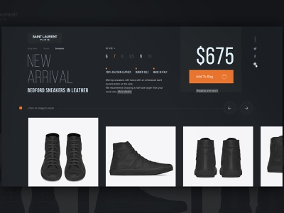 .Product black color dark portfolio startup branding design shoes seo image price shop luxury fashion shop web ecomerce page product card