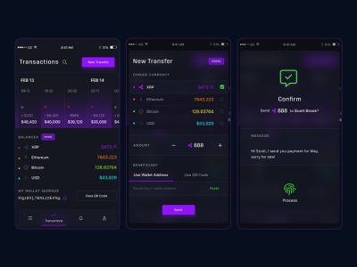 Transaction - Crypto Wallet App mobile setting sale portfolio money management card design money history address black dark checkout bitcoin card transfer blockchain crypto transaction wallet cms