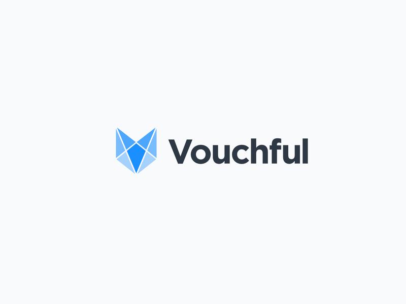 Vouchful Logo fox lettering font gotham dark blue logotype logomark logo design logo brand and identity brand vouchful