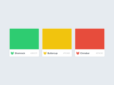 Vouchful Accent Colors palette color palette tile swatch red cinnabar yellow buttercup green shamrock colours color brand and identity brand vouchful
