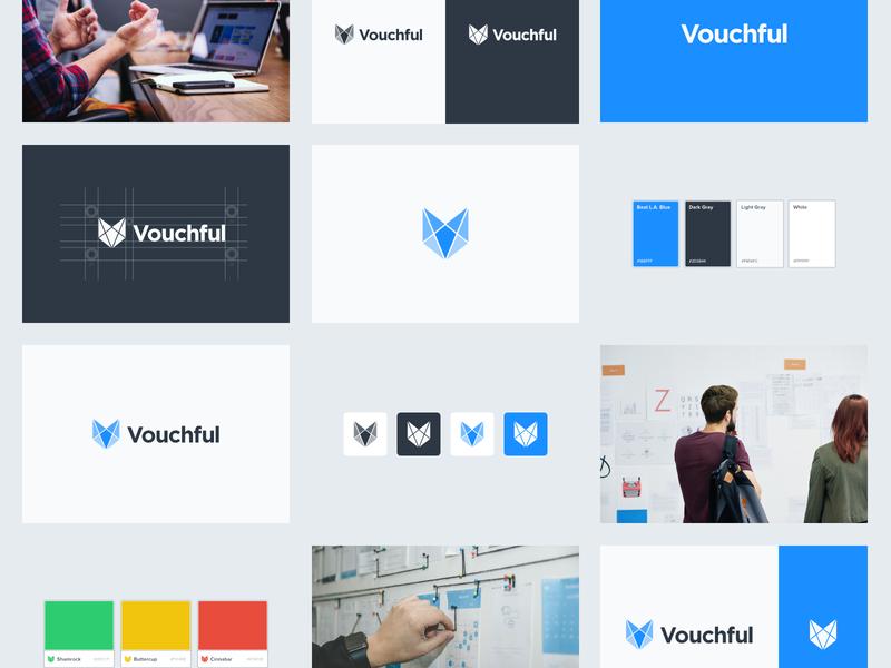 Vouchful Brand Board startup branding fox identity color palette color app icon lettering tile swatch gotham font logo design logomark logotype logo brand and identity brand vouchful