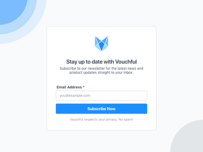 Vouchful Simple Newsletter Subscription Form email campaign card follow mail subscription subscribe newsletter news email vouchful