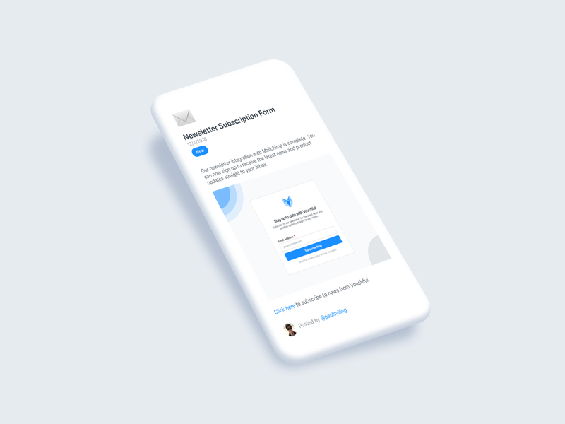 Vouchful Changelog blue white version control publish notification tag versions notes minimal user interface version logs release changelog release notes vouchful