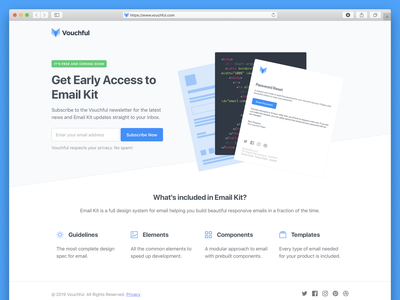 Landing Page - Vouchful Email Kit signup form newsletter subscription form design early access early bird prelaunch coming soon landing page design landing page