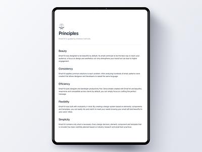 Design System Principles for Email Kit tablet email design system style guide email design documentation docs guidebook minimal minimalist emailkit vouchful