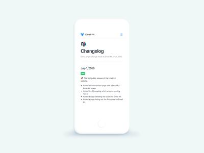 Design System Changelog for Email Kit mobile ui changelog design system style guide email email design documentation docs guidebook minimal minimalist emailkit vouchful