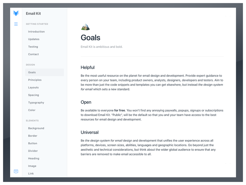 Design System Goals for Email Kit vouchful emailkit minimalist minimal guidebook docs documentation email design style guide design system email