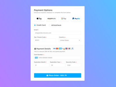 eCommerce Checkout Payment Options
