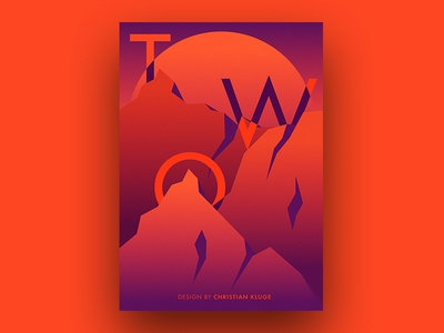 TWO purple orange poster two colors