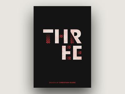 THREE typo minimal abstract red design poster print three