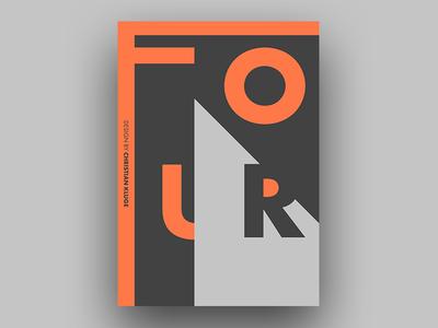 FOUR orange four typo print poster minimal design abstract