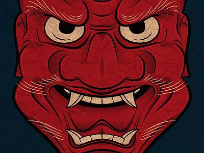 Mask lights shading paper nosie texture gradients linework demon monster asian mask halloween