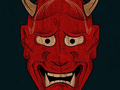 Hannya Mask blood horns teeth anger fear japanese hannya texture outline illustration halloween mask