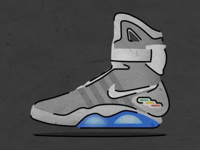 Nike MAG — Back to the Future texture structure glowing glow gradients flat lines vector illustration future hill valley biff nike mag nike doc brown marty mcfly back to the future bttf