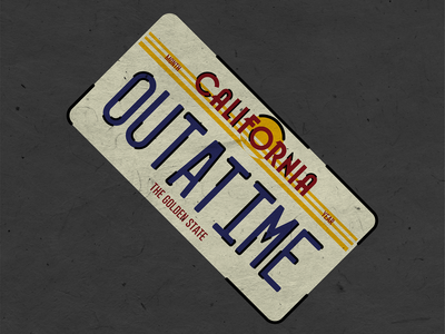 Outatime — Back to the Future type illustration vector illustration flat the golden state california cali license plate present time time machine delorean biff doc brown marty mcfly back to the future bttf