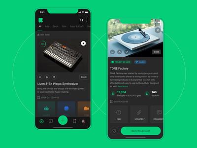 Kickstarter Mobile Concept - Light & Dark UI mobile minimalistic app design dark ios clean ux ui