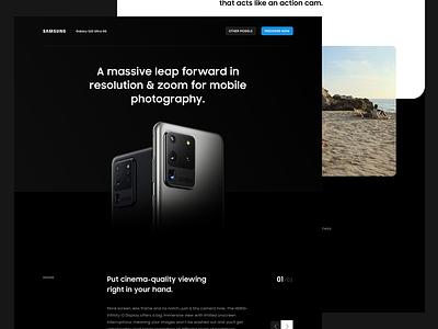 Samsung Galaxy S20 Ultra - Landing Page page landing web dark s20 galaxy samsung clean ux ui