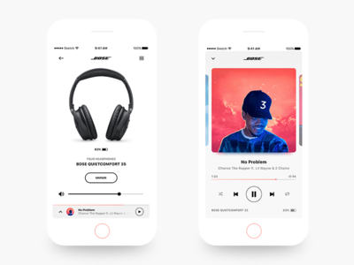 BOSE - iOS app redesign design ios iphone headphones wireless music player ux ui redesign bose