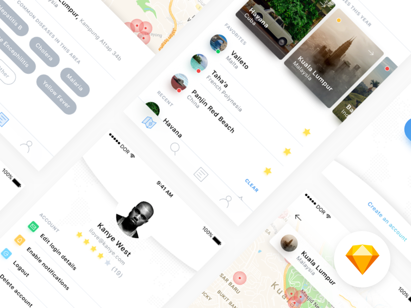 Disease Finder — free .sketch mobile UI design