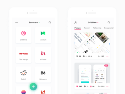 🐦 Squakers — news reader app dribbble ios ux ui app reader news geek portals hype squakers