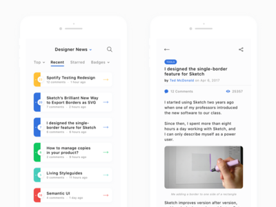 🐦 Squakers — site without thumbnail & post view ux ui squakers reader portals news ios hype geek dribbble app