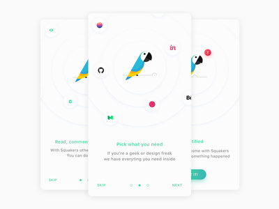 🐦 Squakers — onboarding onboarding ux ui squakers reader portals news ios hype geek dribbble app