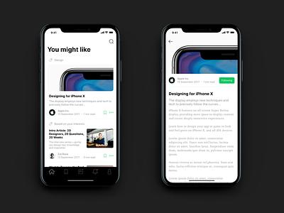 ✌️ Medium Concept on iPhone X minimalistic clean white concept redesign medium ios 11 iphone x