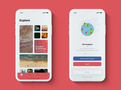 📌 Pinterest — iPhone X redesign: Home & Onboarding clean white red ios x iphone photos ux ui pinterest