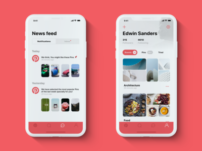 📌 Pinterest — iPhone X redesign: Notifications & Profile pinterest ui ux photos iphone x ios red white clean