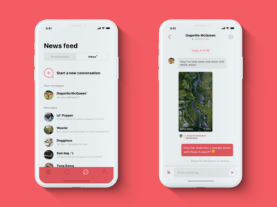 📌 Pinterest — iPhone X redesign: Inbox & Message clean white red ios x iphone photos ux ui pinterest
