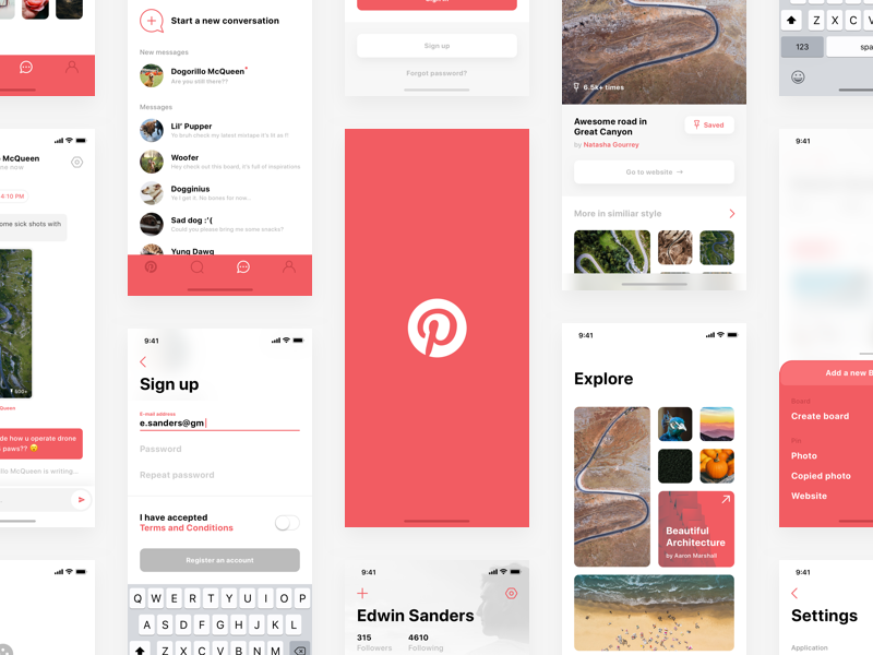 Download  Pinterest — iPhone X redesign Sketch Freebie