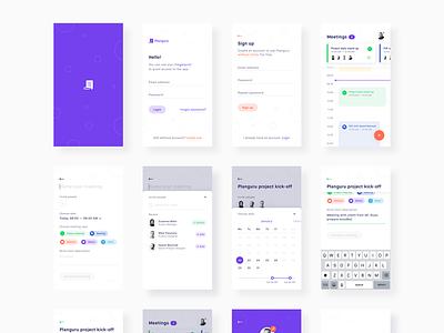 🗓️ Planguru - Free Mobile UI Kit 💎.sketch freebie sketch free ui mobile ios android calendar organize plan profile cards