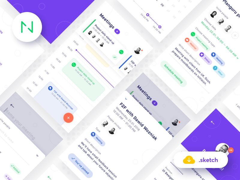 🗓️ Planguru - Free Mobile UI Kit 💎.sketch freebie sketch free ui mobile ios android calendar organize plan profile cards