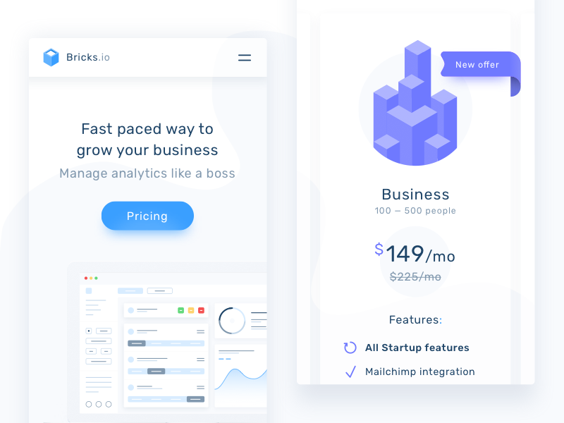 Bricks.io landing page - mobile by Patryk Pustół for Netguru