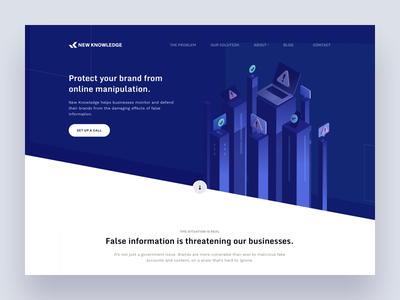 New Knowledge site page illustration clean blue design layout web website