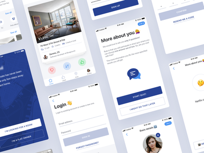 Find a Roommate - Sketch UI Kit Freebie free app white clean flat uiux ux ui design mobile ios wireframe freebie ui kit