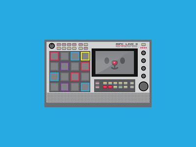 Happy MPC LIVE II icon illustration machine cute happy music beats hip hop drum machine sampler live 2 mpc live akai mpc