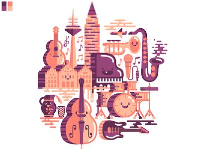 Chombajazz Session icon cute kawaii building music drums saxophone guitar bass instruments jazz