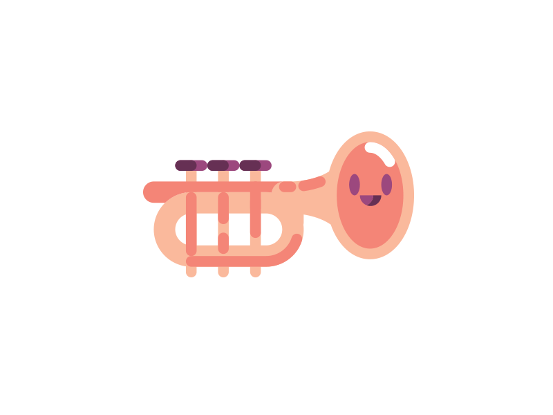 HappyTrumpet instrument music icon vector character trumpet happy