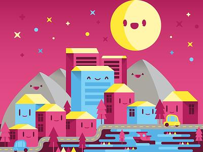 YOcity for  illustration happy cute kawaii city