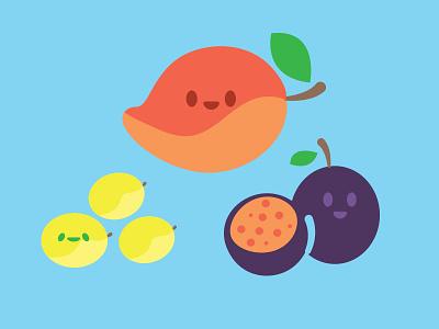Frutas Mexicanas cute vector icon happy frutas obst fruits fruit maracuja mango jobo