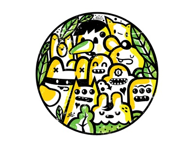 EF+SAT collab color vector happy cute characters collage monsters color