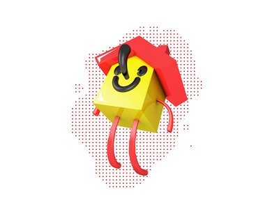 HappyHouse [classic times] red yellow icon illustrator cinema 4d house happy