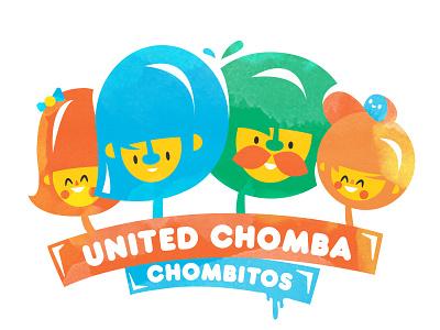 United Chomba stickathing sat funky colourful vector kawaii happy chomba