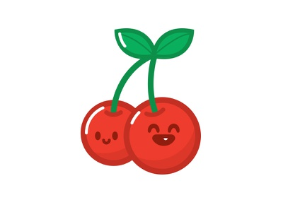HyperKawaii Cherry green red vector illustration icon happy kawaii cute cherry