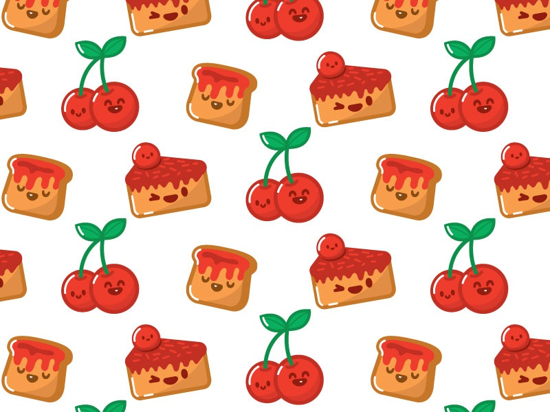 Cherry Cake Toast Kawaii Pattern delicious yummy sweet cute pattern cake toast cherry hyperkawaii