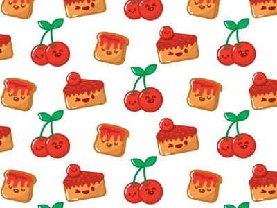 Cherry Cake Toast Kawaii Pattern