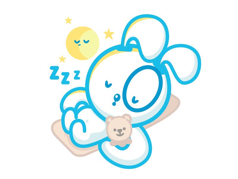 Sleepy Banni sticker moon bunny cute sleepy sleep kawaii