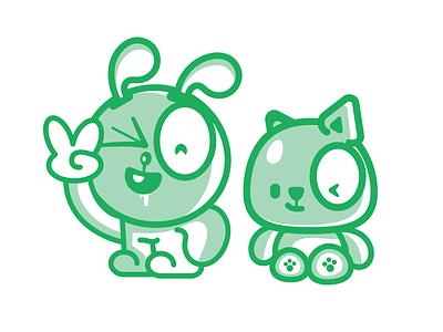 Kawaii Characters dog bunny happy mascot characters kawaii