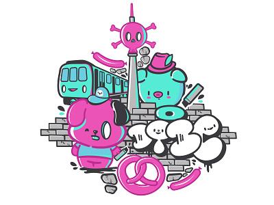 DTBC DownTownBrezelCrew bubbles pretzel hat wall graffiti cute kawaii character dog pork pig subway urban
